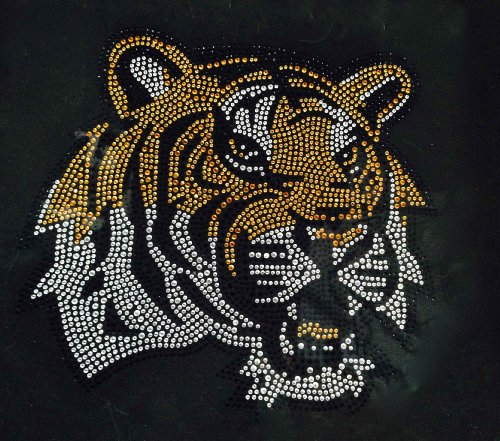 Tiger Face Side Brown Rhinestone Transfer Iron On - -