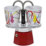 Bialetti Mini Express Kandisky, Cup + 2 shot glasses coffee maker, Aluminum