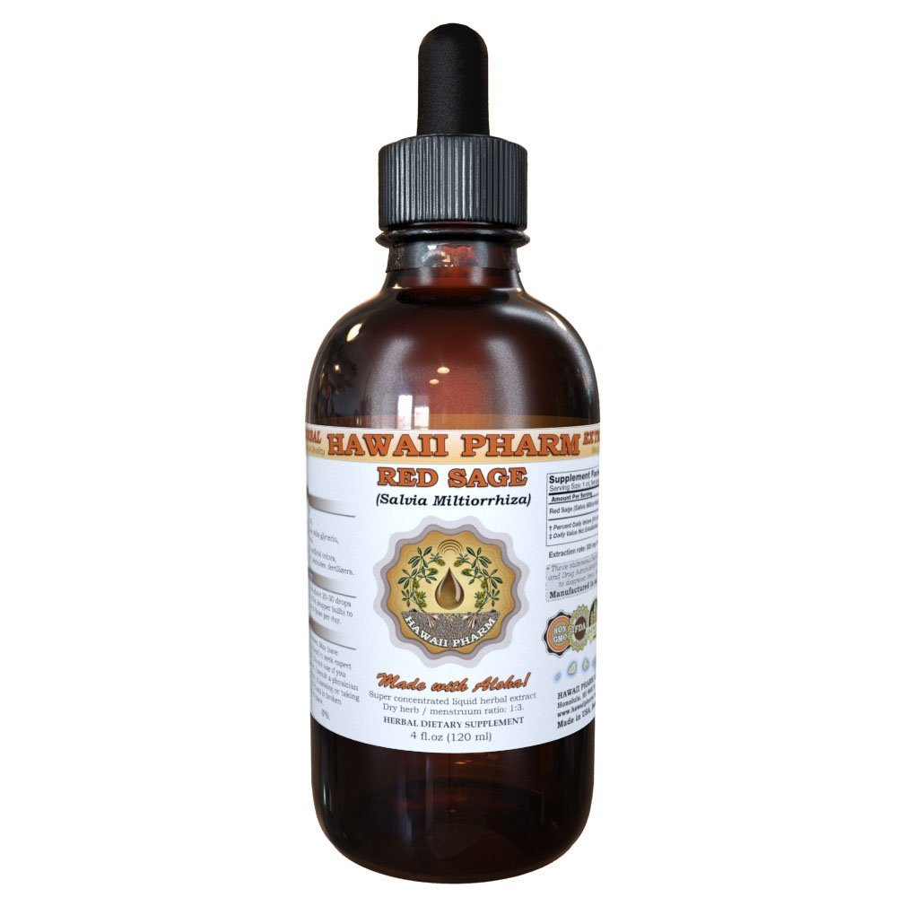 Red Sage Liquid Extract, Organic Red Sage (Salvia Miltiorrhiza) Tincture 4 oz