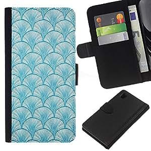 EJOY---La carpeta del tirón la caja de cuero de alta calidad de la PU Caso protector / Sony Xperia Z1 L39 / --Patrón de Baby Blue Colores Wallpaper