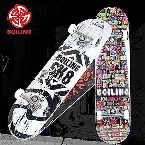 Bazaar BOILING Four Wheel Double Become Warped Slide Maple Skateboard Set (Skateboard Boiling)
