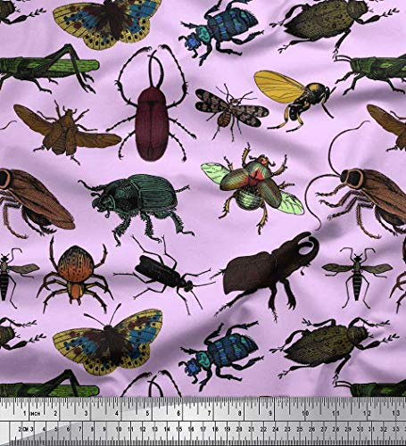 Soimoi Purple Cotton Poplin Fabric Beetle,Butterfly & Honey Bee Insects Decor Fabric Printed BTY 56 Inch Wide