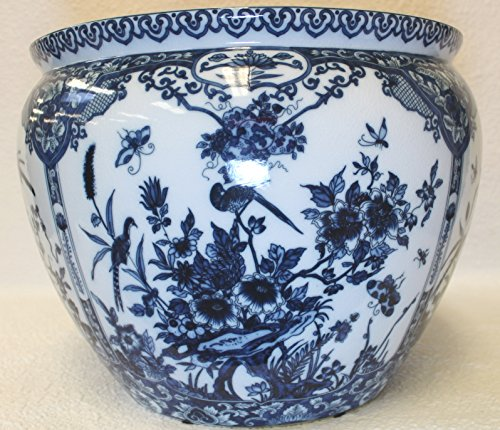 Bird Imari Blue and White Porcelain Fish Bowl 20'' by BlueWhiteVases