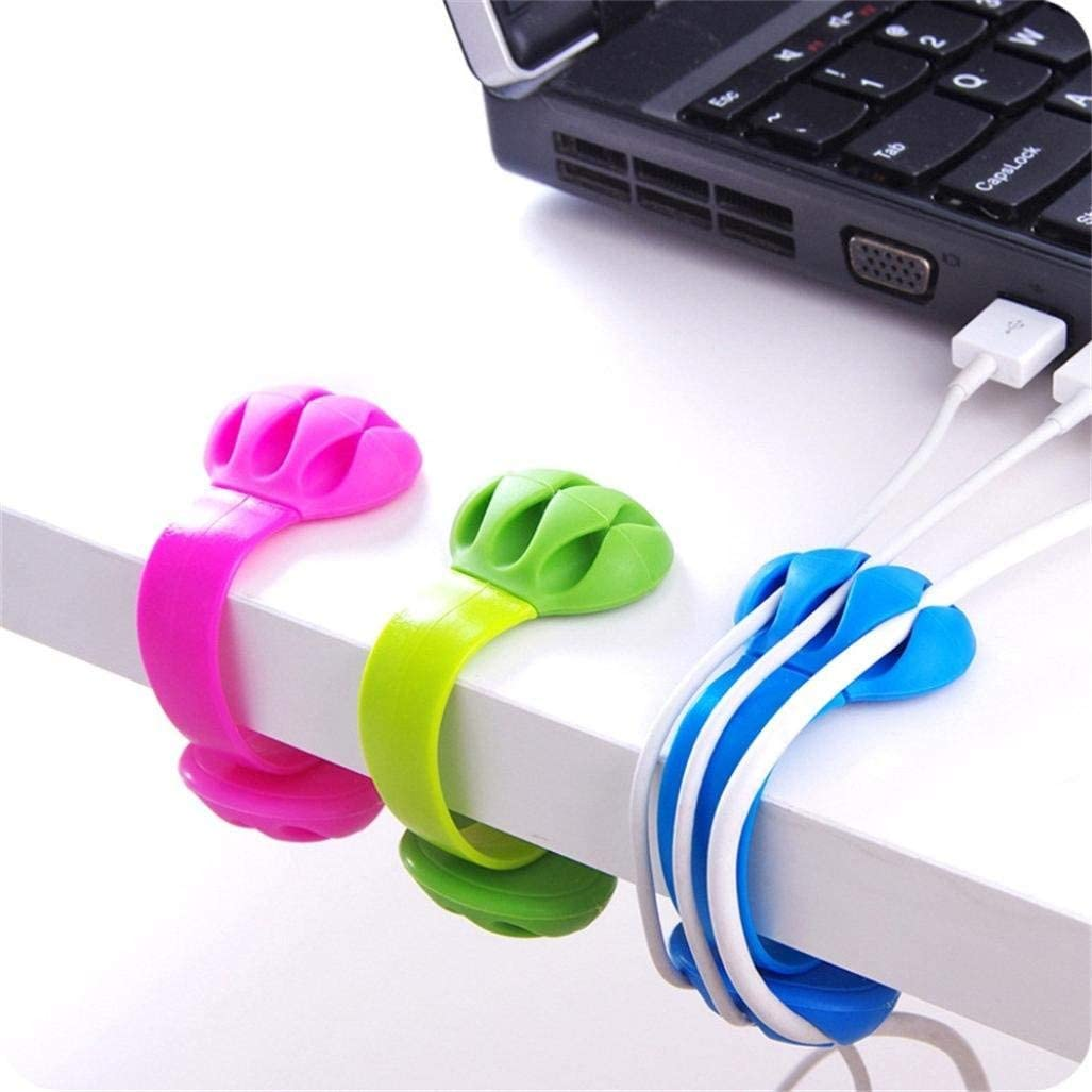 Desk Tidy Organiser Cable Drop Wire Clip Cord Lead Line USB Charger Holder Fixer
