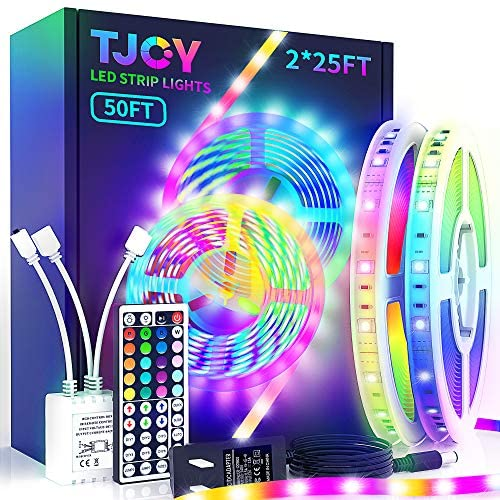 50ft TJOY LED Strip Lights, Superior RGB 5050 LED, Rope Lights Strip with 44 Key IR Remote for Ceiling, Room, TV, Cupboard, Bedroom, DIY Decoration, Party, Festival, Christmas, 2x25ft