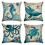 #9: Carrie Home Ocean Park Cotton Linen Theme Decorative Throw Pillow Cover Case 18