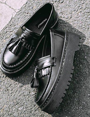 moda Scarpe US8 EU di mujer Punta Nero la tonda negro a gyht Punta creepers casual cerrada CN41 UK6 semicuero ZQ sneakers EU39 36 plataforma UpOq5wBBx