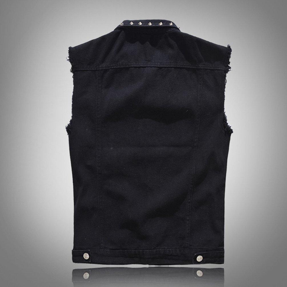 Byqny Herren Cool Niet Freizeitjacke Beil/äufige Basic Slim Fit Fashion /Ärmellose Jacke Weste Stretch Jeansweste Cowboy Denim Vest