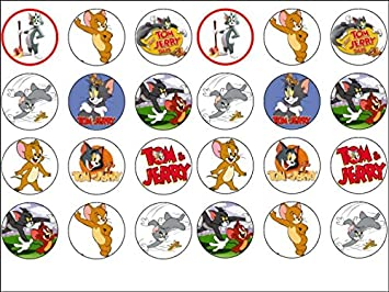 24 Tom Jerry Theme Edible Wafer Paper Cup Cake Toppers Amazonco