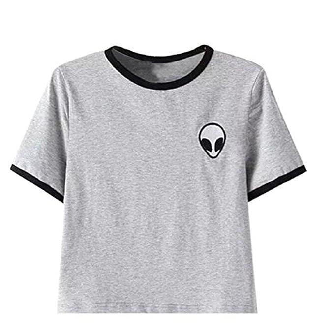 KINO Chica Casual Tops camisetas Alien impresión blusa de camiseta de manga - S: Amazon.es: Ropa y accesorios
