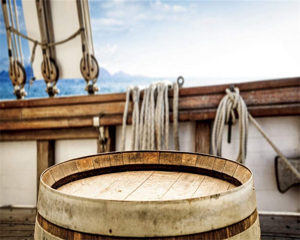 YEELE 10x8ft Old Ship Interior Backdrop Vintage Barrel on Deck Photography Background Nautical Theme Sailing Adventure YouTube Videos Kids Adults Portrait Photobooth Props Wallpaper