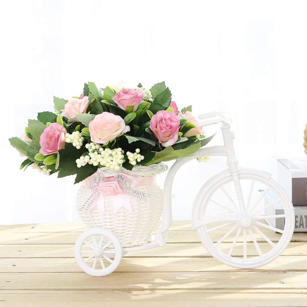 Aofocy Triciclo Hecho a Mano//Cesta de Flores en Forma de Bicicleta para Almacenamiento de Flores//arreglo Blanco Rosa