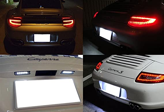 ijdmtoy OEM Replacement Xenon Blanco Led de la matrícula Luz conjuntos para Porsche 911 Carrera 964 968 986 993, 996 Boxster (replace OEM # 6316200101): ...