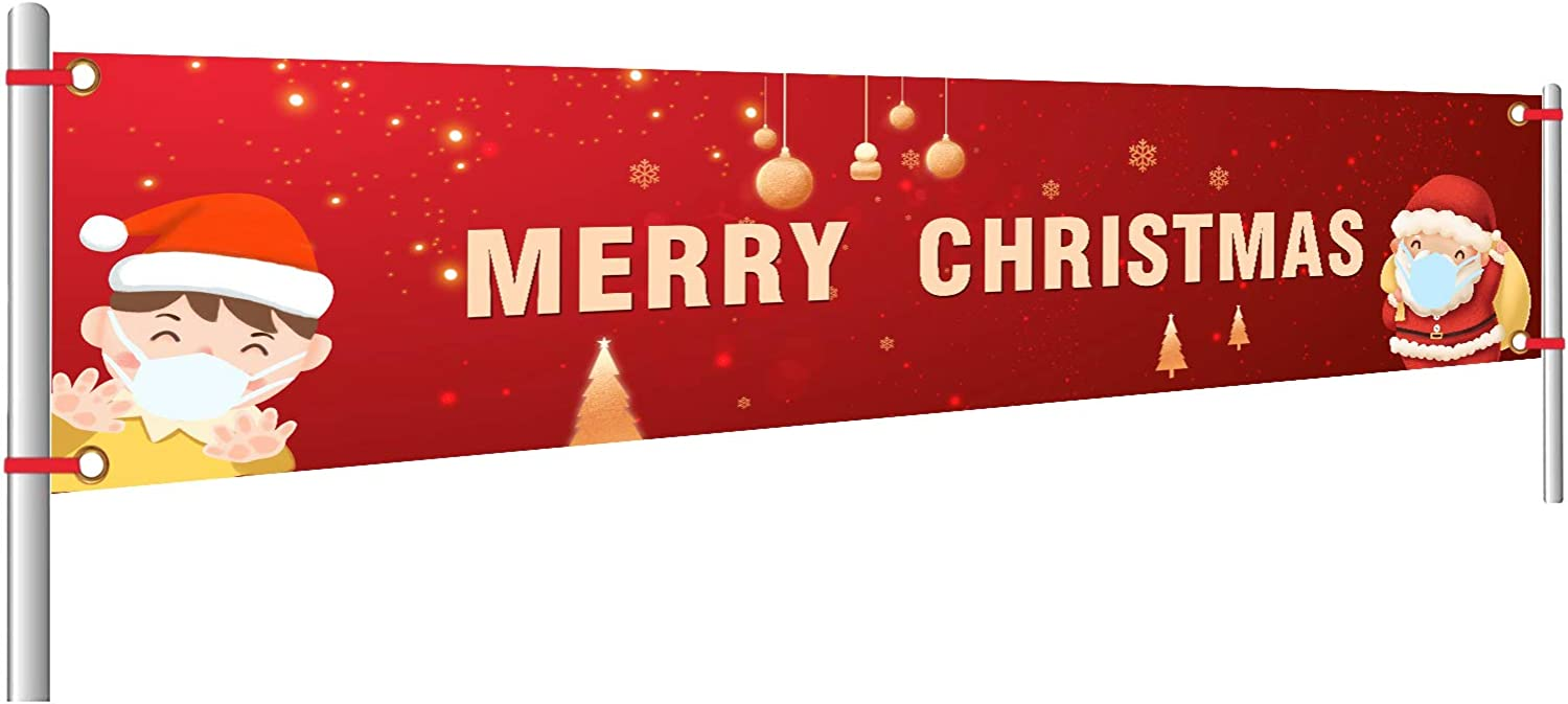 AINOLWAY Merry Christmas Banner | Faceless Old Men Xmas Sign | Huge Xmas House Home Outdoor Party Decoration