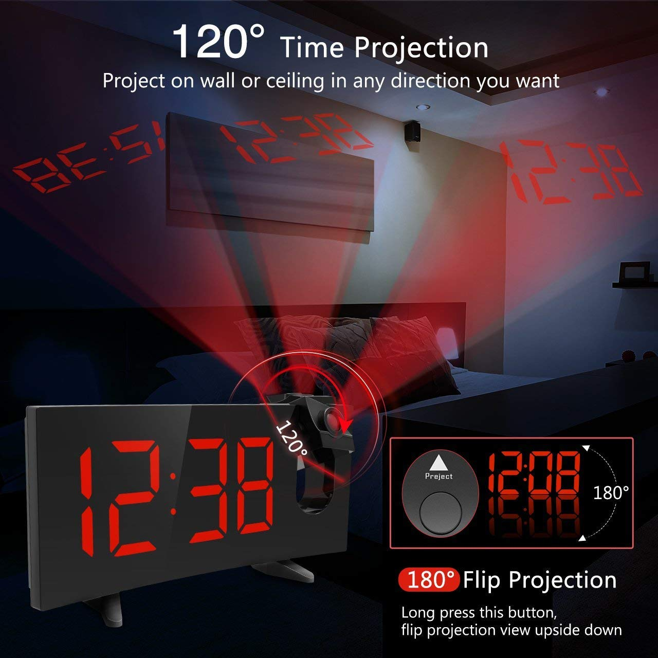 PICTEK Projection Alarm Clock FM 5-Inch Dimmable Screen Ceiling Display, Kids Radio with Dual Snooze Function, Digital Alarm Clock Projector for Bedroom YTGEHM126BBUS-USAA1-H