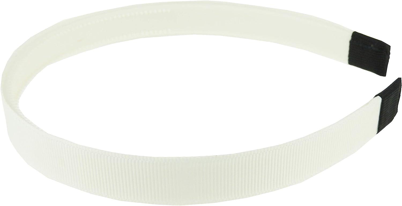 Chocolate White Ladies Girls Ribbed Satin Ribbon 15mm Covered Headband Alice Band