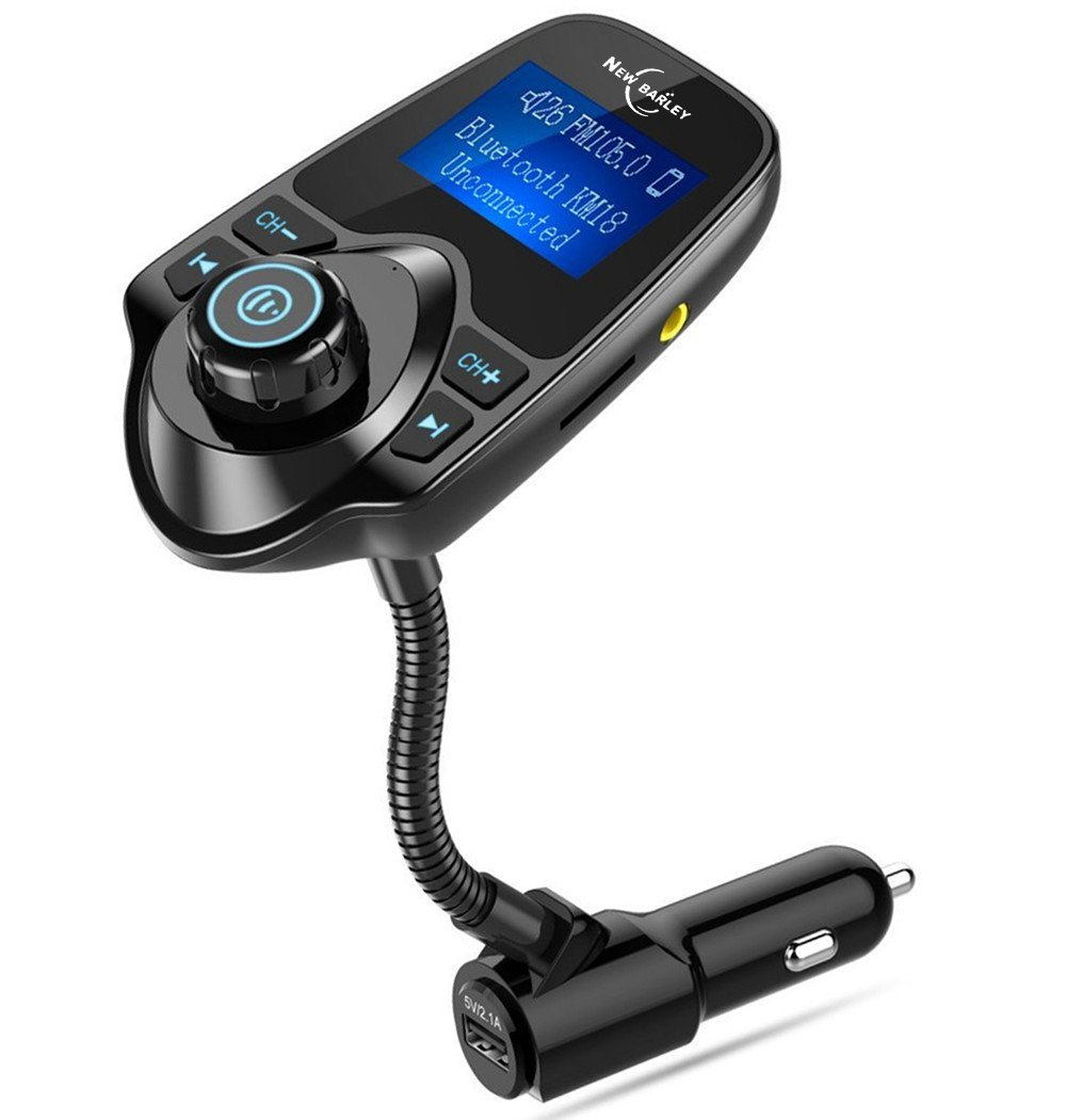 Bluetooth FM Transmitter 1.44 Inch Display Radio Adapter Car Kit With 5V 2.1A USB Car Charger MP3 Player Read Micro SD Card and USB Flash Drive
