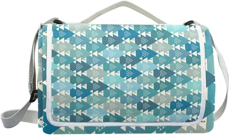 XINGAKA Coperta da Picnic Tappetino Campeggio,Vettore del Fondo del Modello dei Pesci,Giardino Spiaggia Impermeabile Anti Sabbia 1