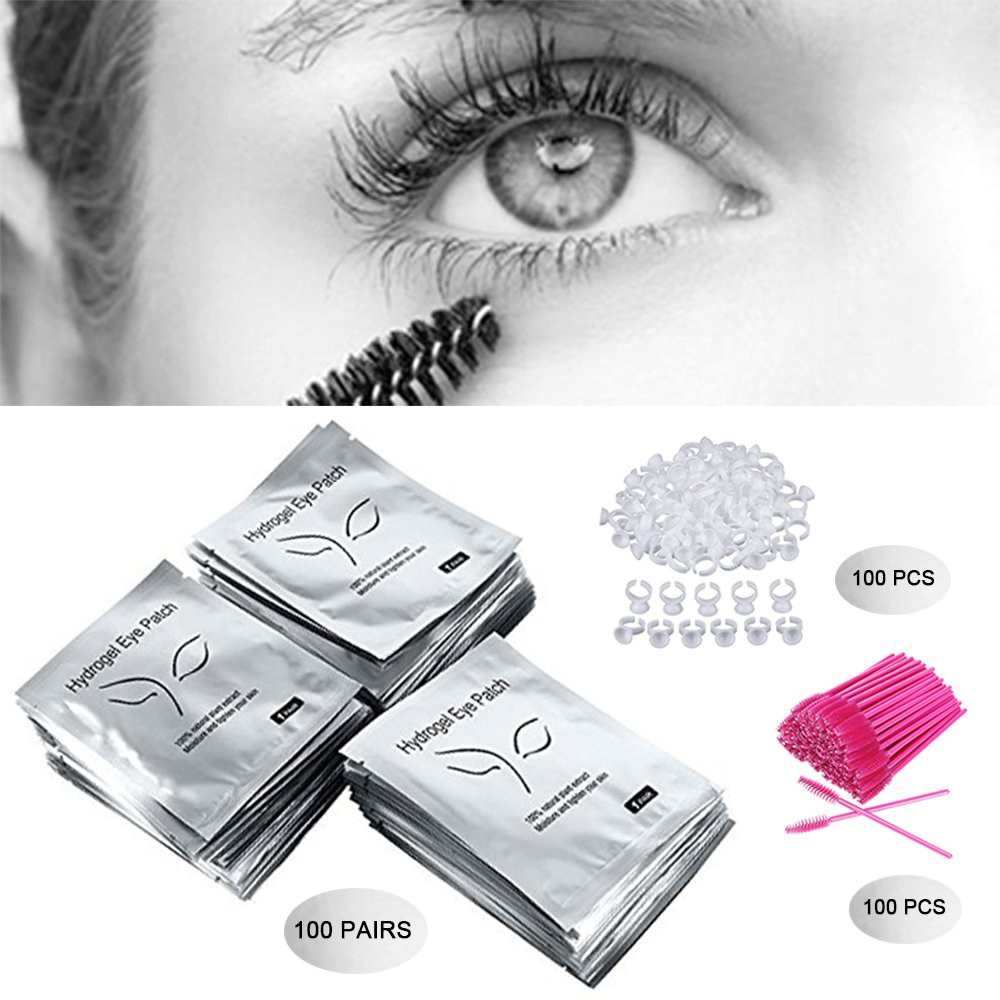 3x100 Packs- Under Eye Pads Lint Free Lash Extension Eye Gel Patches & Eyelash Mascara