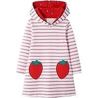 VIKITA Sudaderas para niños Sudaderas con Bordado de Flores Vestido a Rayas Algodón Niña 2-8 años