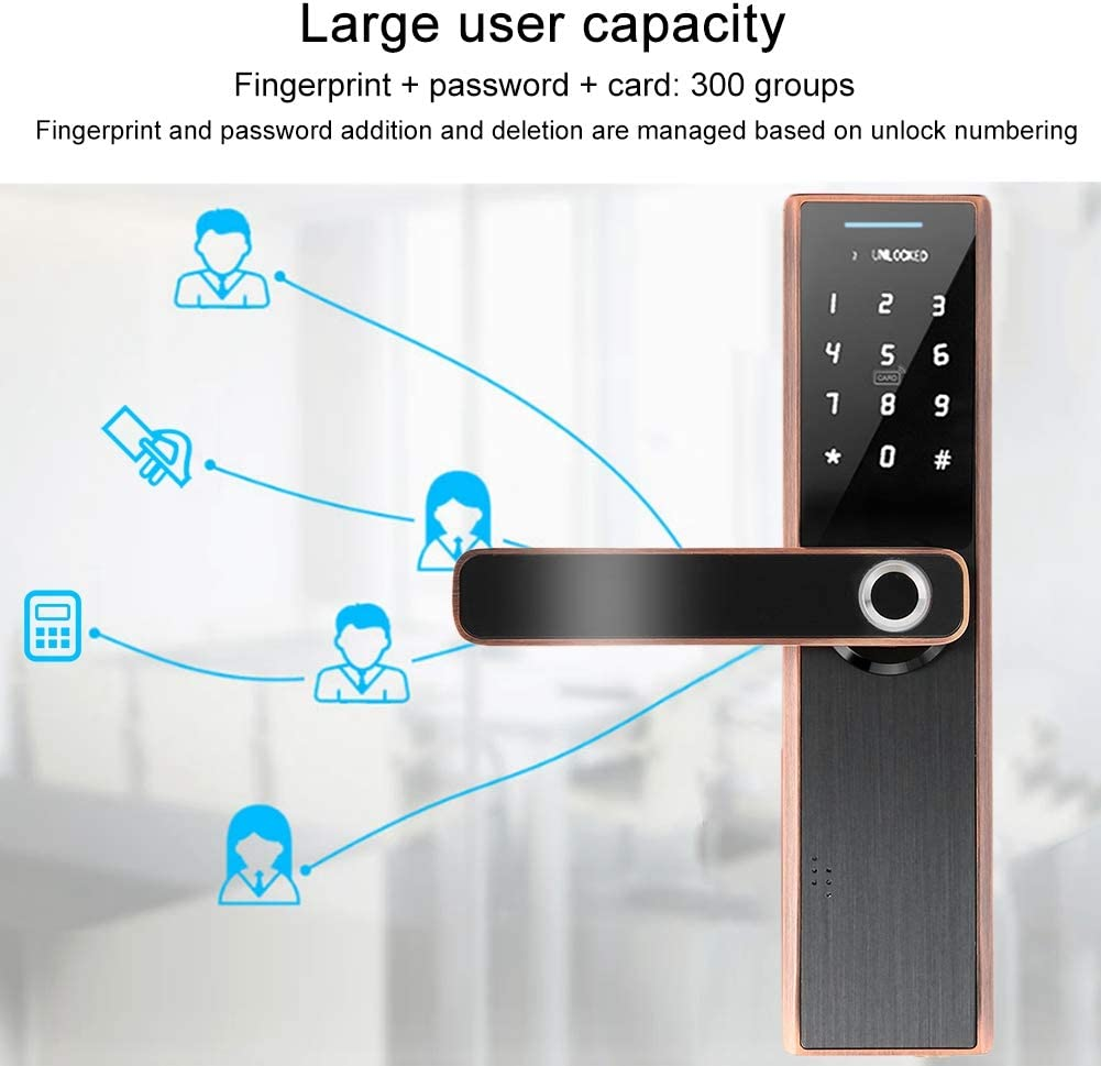 Fingerprint//IC Card//Password//Mechanical Key Unlock Double Tongue Door Lock Smart Electronic Door Lock Red Bronze Touch Screen Door Lock Keyless