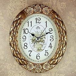 Edge To Mute Creative Bedroom Living Room Pastoral Fashion Simple Modern European Retro Oval Wall Clock Quartz Clock (Color : Gold)