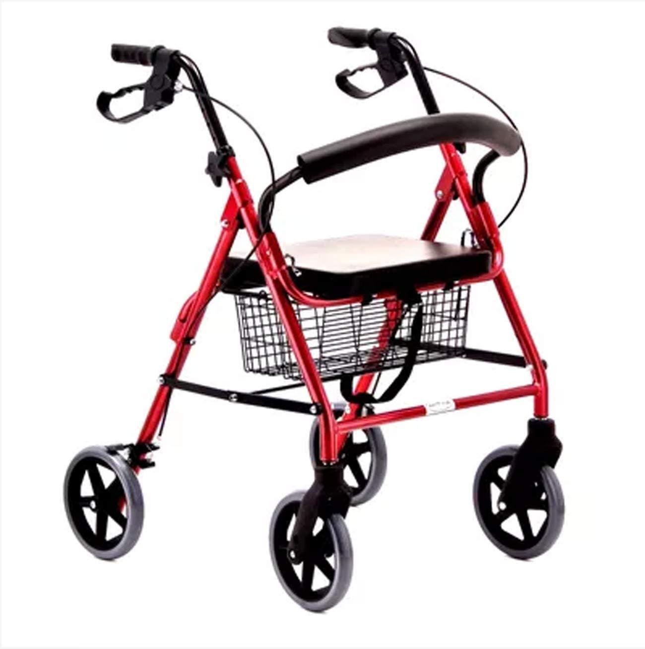 【超特価sale開催!】 高齢者歩行器、アルミニウム合金歩行器、折り畳み式4輪補助歩行器 B07L75SSMK、赤 B07L75SSMK, アウトドア専門店の九蔵:de515f26 --- a0267596.xsph.ru