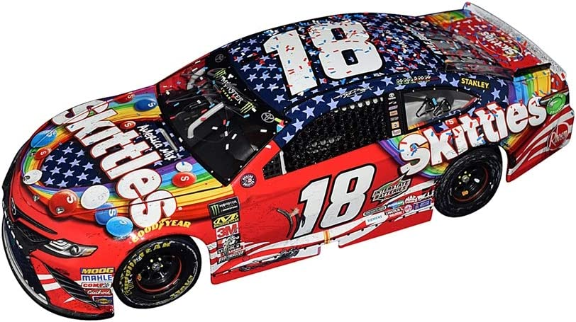 AUTOGRAPHED 2018 Kyle Busch #18 Skittles Patriotic Red-White-Blue CHICAGOLAND SPEEDWAY WIN 1 of only 889 produced! Raced Version w//Confetti Signed Lionel 1//24 Scale NASCAR Diecast Car with COA
