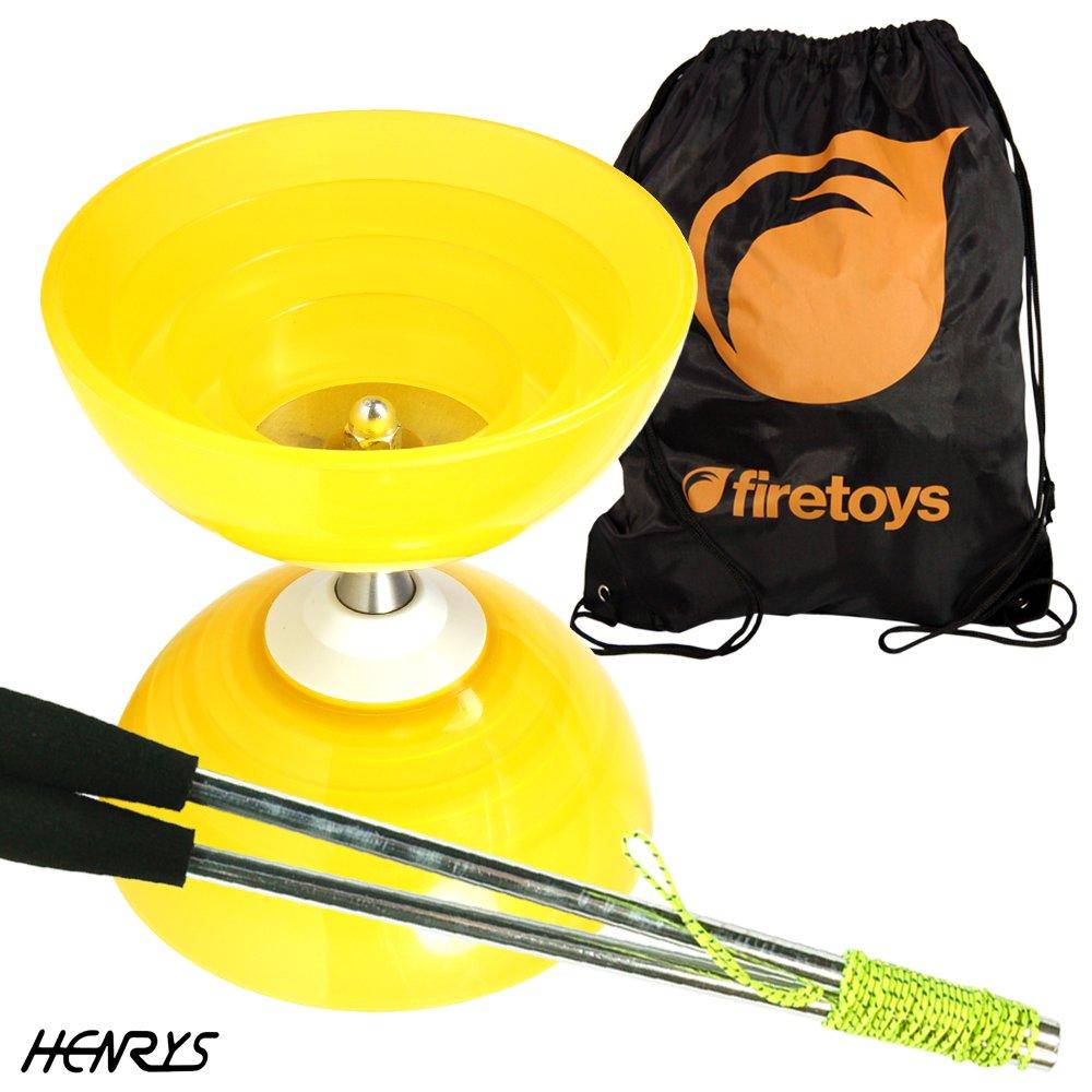 Henrys Beach Free-Hub Bearing Diabolo with Aluminium Diablo Sticks /& Firetoys Bag Yellow