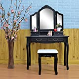 Alek...Shop Vanities Dressing Table luxurious Design Tri Folding Mirror Black Wood Vanity Set Makeup Table Dresser 4 Drawers Stool