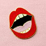 Ladys-Sexy-Red-Lips-Embroidered-Mouth-Badge-Iron-On-Sew-On-Patch