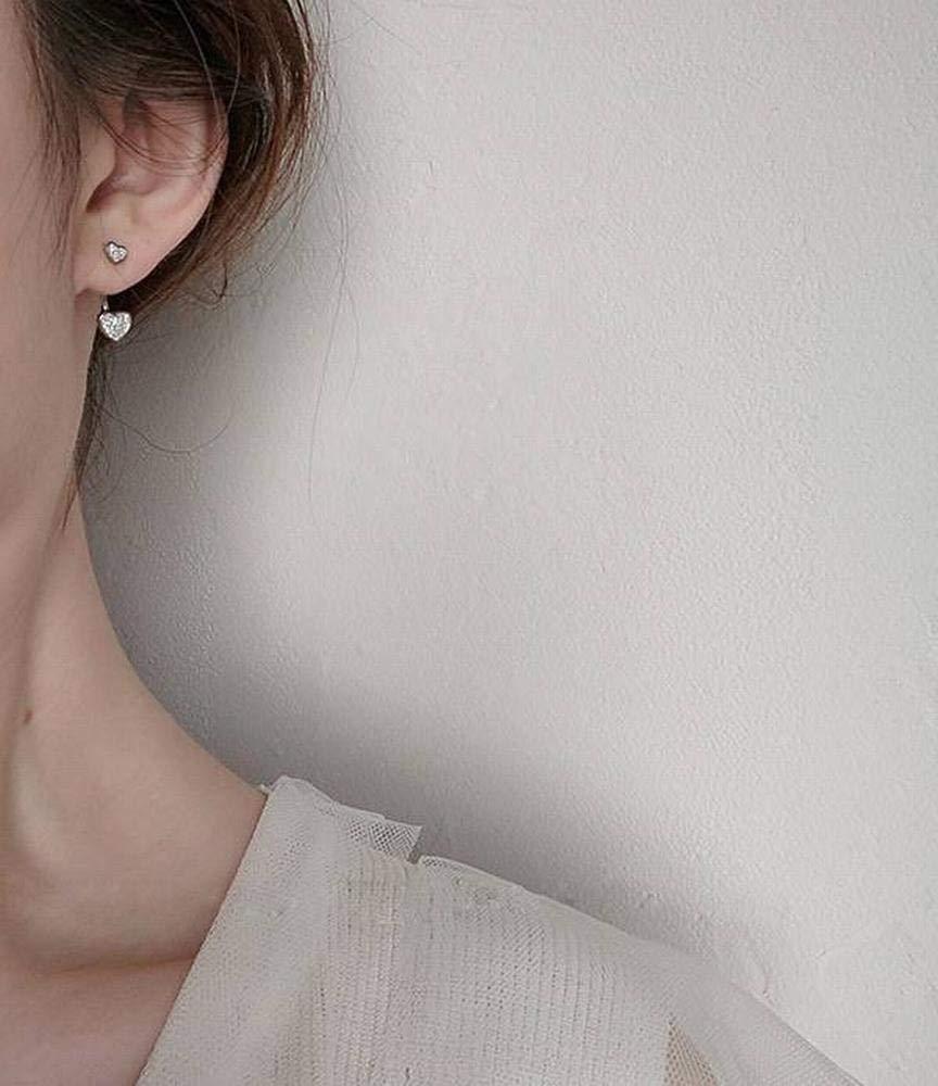 lll Womens Western Fashion 925 Silver Heart-Shaped Diamond Stud Earrings S925 Sterling Silver Love Diamond Stud Earrings Female Sweet Wild Back-Mounted Earrings Allergy Silver Jewelry