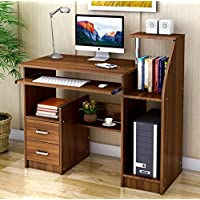 Home Office Computer Desk with Storage Drawers and Shelves Study Student Business Workstation Walnut