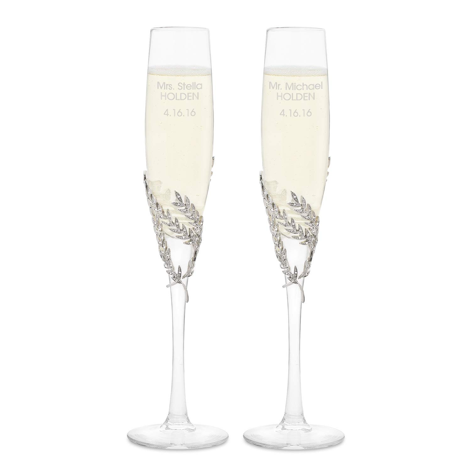 Things Remembered Personalized Athena Pavé Champagne Flute Set with Engraving Included