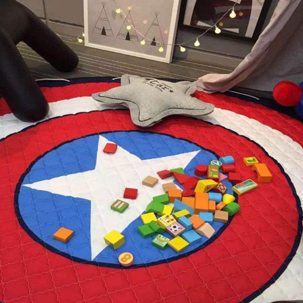 Alfombra Redonda Infantil Tapete De Juego Manta De Bebé con Bolsa De Almacenamiento Portátil (Capitán América) INCX