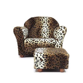 Wondrous Keet Roundy Kids Chair With Ottoman Leopard Alphanode Cool Chair Designs And Ideas Alphanodeonline