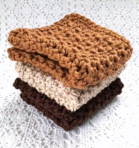 Amazoncom Crochet Kitchen Dish Cloths Fall Earth Tones Brown Beige