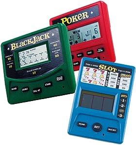 RecZone LLC Vegas Gambling Electronic Travel Game Pack - Slot Machine, Poker, and Blackjack Handheld Game
