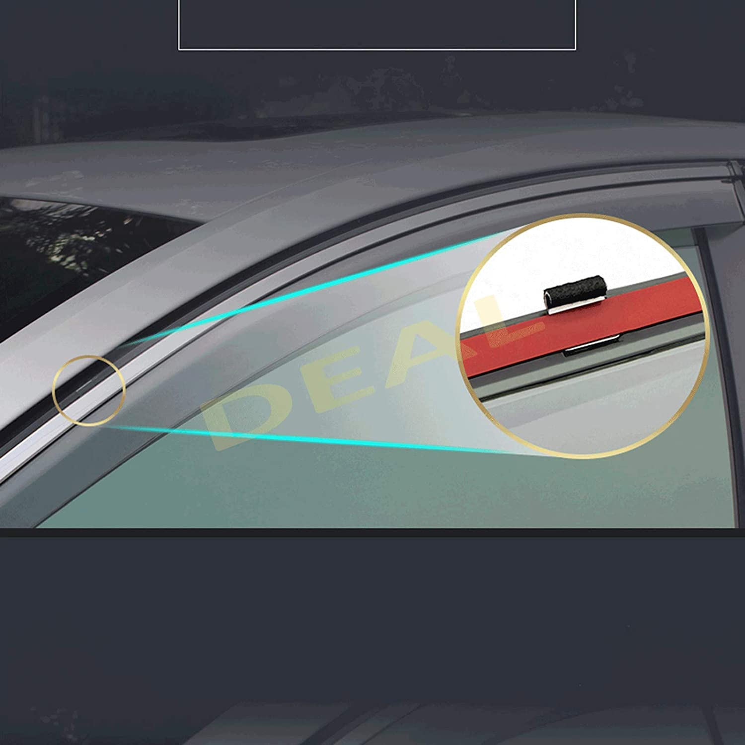 DEAL 4-Piece Set Outside Mount Tape On//Clip On Type Smoke Tinted Sun//Rain Guard Vent Window Visors With Chrome Trim For 2019-2020 Nissan Altima
