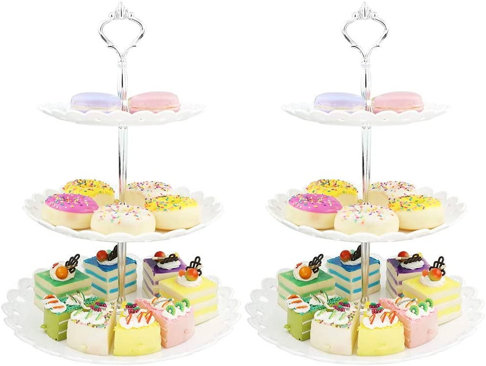 3-Tier White Silver Plastic Dessert Stand Pastry Stand Cake Stand Cupcake Stand Holder Serving Platter for Party Wedding Home Decor-Large-Set of 2