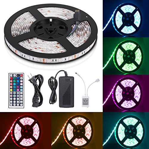 Decor Strip (Sunnest 16.4ft LED Flexible Strip Lights, 300 Units SMD 5050 LEDs, 12V DC Waterproof Light Strips, RGB LED Light Strip Kit with 44Key Remote Controller and Power Supply for Kitchen Bedroom Car Party)