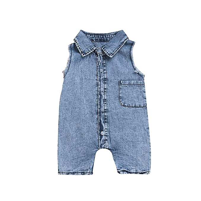 dd3938e1203b Amazon.com  WARMSHOP Newborn Sleeveless Solid Denim Romper Boys ...