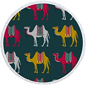 AIKENING Fashion Beach Blanket Beach Towel Mat Shawl Unique Camel Wild Animal Nature Cartoon Printed Microfiber Terry Cloth Tassel Towel for Holiday Camping Carpet Yoga Mat