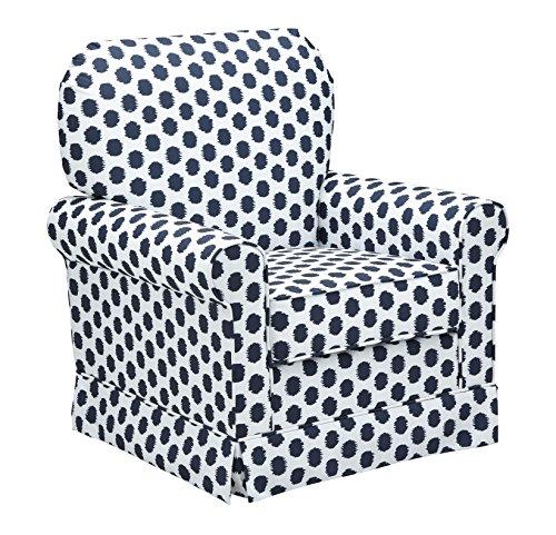 (Storkcraft Polka Dot Upholstered Swivel Glider, White/Navy, Cleanable Upholstered Comfort Rocking Nursery Swivel Chair)