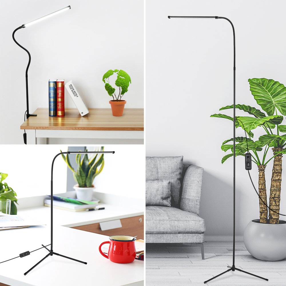 Floor Lamp 3-in-1,LED Reading Standing Lamp Desk Lamps with C-Clamp and Tripod Base,4 Kinds of Lighting Flexible Gooseneck Dimmable Lamp USB Powered for Study Bedrooms Living Room Office(Black) NACATIN