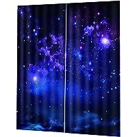 Fenteer Shining Star 3D Blockout Curtain Living Room Drape for Kids Room Home Decor