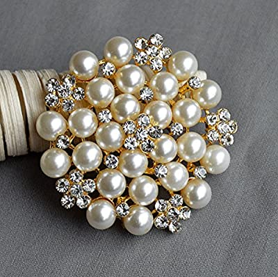 Rhinestone Brooch Crystal Pearl Brooch Gold for Wedding Brooch Bouquet Cake Decoration Hair Comb Shoe Clip DIY Supply BR227