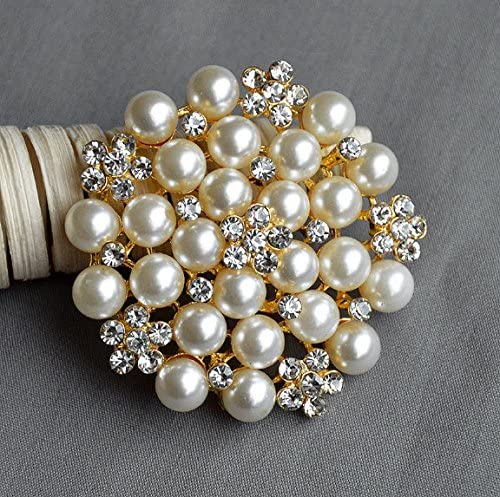 Pre-Christmas Sale Rose Gold Pearl Crystal brooch Free US shipping Rhinestone Brooch Wedding Brooch