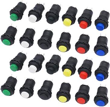 Gtiwung 24 Stück Mini Push Button Schalter 12mm Druckschalter Mini Drucktaster On Off Druckknopf Selbsthemmender Schalter Für Auto Boot Arduino Diy Ac 250v 1 5a 125v 3a 6 Farben Baumarkt