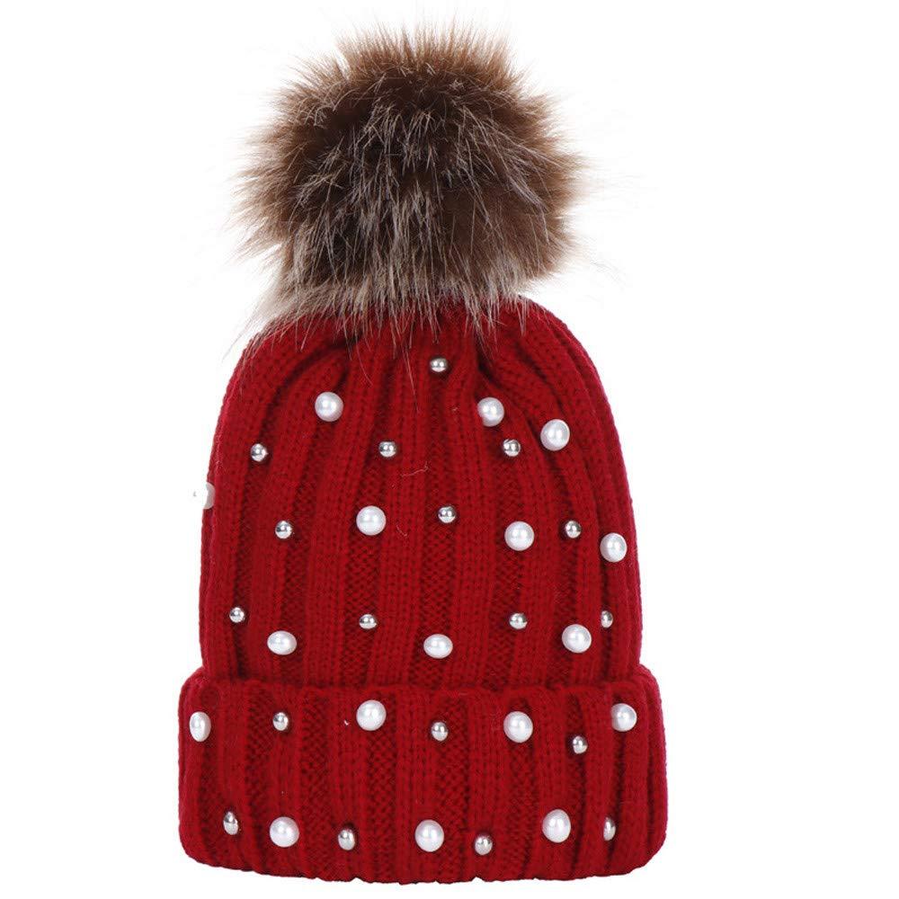 Sinwo Baby Winter Warm Knit Hat Infant Children Toddler Kid Crochet Hairball Beanie Cap (Red)